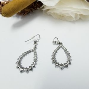 Silver Sparkle Diamond like Teardrop Earrings